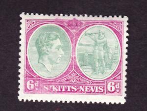 St Kitts nevis GVI 1938 6d, perf 13x12, mm, fine sg74, cat £12