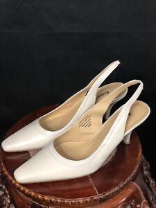Karen Scott Womens Benedict Beige Slingback Heels 7.5 Medium (B,M) BHFO 8143