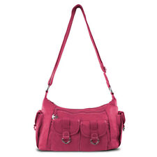 Travelon Adjustable Organizer Shoulder Crossbody Strap Hobo Bag w/ Pockets Pink