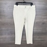 "Chico's Women's Size Petite 2P Faux-Suede Knit Pants Ivory Cream 27"" Inseam"