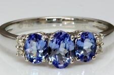 Tanzanite Three-Stone White Gold Engagement Rings