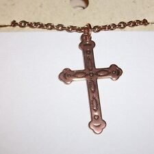 "100% Copper Cross Chain Necklace 18"" NWT"