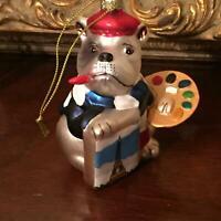 French Bulldog Artist Painting Hand Painted Mercury Glass Christmas Ornament