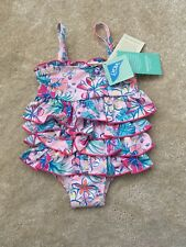 2bbf8f0615536 Monsoon 12-18 Month Pink/ Coral/ Flower/ Frill/Swimsuit/ Beach