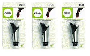 Duo Bottle Stopper And Pour Spout in Black by True - 3 pack