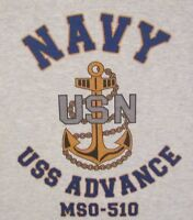USS ADVANCE  MSO-510* MINESWEEPER * U.S NAVY W/ ANCHOR* SHIRT