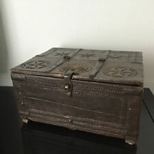 Ancien Coffre Mariage Rajasthan Inde XVIIIè Carved Wooden Indian Chest 18thC