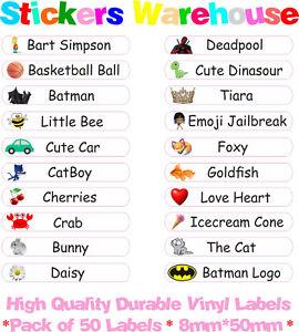 50 Personalised Name Labels Stickers School Tags Vinyl Stick On Kids Waterproof