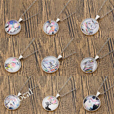 Womens Art Drawing Cabochon Necklace Silver Chain Decoration Jewelry Chic Gift