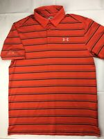 Under Armour ColdBlack Golf Polo Shirt Mens Medium Orange Black Stripes HeatGear