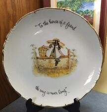 "Vintage Holly Hobbie ""To the House of a Friend."" 12.5"" gold rim wall hanger incl"