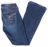 Silver Suki Surplus Bootcut Womens Jeans Flap Pockets Faded Dark Wash Size 27/32