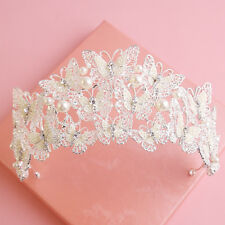 Vintage Wedding Bride Crystal Pearl Butterfly Silver Queen Crown Tiara Headbands