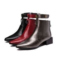 Elegant Women Back Zip Ankle Boots Pointy Toe Chunky Heel Leather Buckle Booties