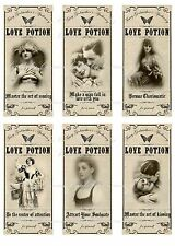 Valentine love potion apothecary label stickers set of 6 scrapbooking crafts