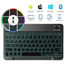 "10"" QWERTY Bluetooth Keyboard Backlit for iPad Android Windows Devices Tablets"