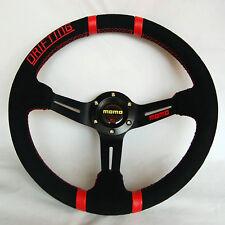 350mm Suede Leather Deep Dish Steering Wheel For MOMO Hub OMP Hub Black Spoke RL