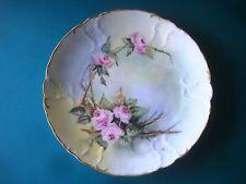 "7"" ANTIQUE SEVRES PORCELAIN PLATE hand painted signed crown mark flower dish"