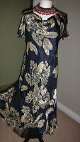EASTEX Satin Devore 49% Silk Navy&Gold  Party/Formal Fit & Flare Dress UK 12