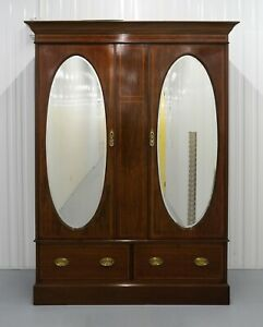 LOVELY EDWARDIAN INLAID BROWN MAHOGANY MIRRORED DOOR DOUBLE WARDROBE & DRAWERS