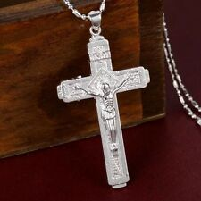 Pure 925 Sterling Silver Christian Jesus Christ Cross Catholic Crucifix Pendant