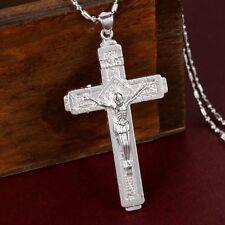 Pure 925 Sterling Silver Christian Jesus Christ Cross Catholic Crucifix Pendant