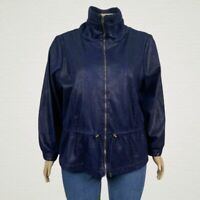 Ruby Rd. Faux Snake Skin Print Microfiber Zip Up Jacket 24W PLUS Navy Blue