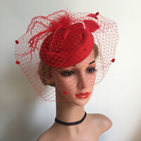 Women's Fascinator Hat Mesh Veil Feathers Headband Cocktail Tea Party Hats