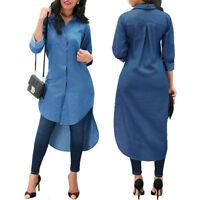 Women's Blue Jeans Shirt Mini Dress Denim Pocket Long Sleeve T-shirt Loose New