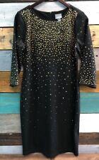 "RABBIT "" DESIGNS  Black Dress With Gold Rhinestones Size 10"
