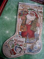 Christmas Bucilla Counted Cross Stocking Kit,Fishing Santa,Fish,Gillum,84355,1 8""