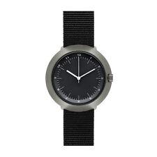 """Normal Timepieces """"Fuji"""" Cuarzo Acero IP Gris Nylon Negro Hombre Reloj"""