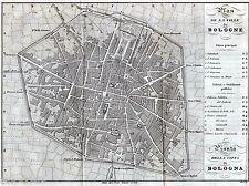 PIANTA DI BOLOGNA.Carta Topografica.Acquaforte.Allodi.ARTARIA.Stampa Antica.1842