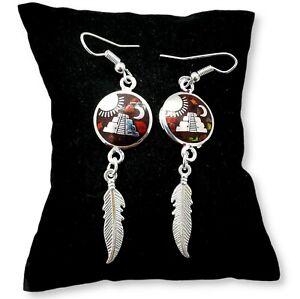 Aztec Pyramid Feather Brown Opal Earrings Round Shaped Bohemian Jewellery Boho