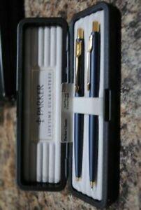 Parker Classic Set  Blue & Gold Ballpoint Pen &  0.5mm Pencil New In Box