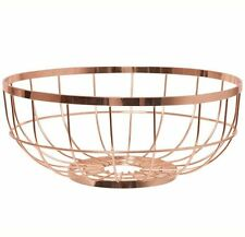 Present Time FRUIT BASKET OPEN GRID Wire Metal Bowl COPPER