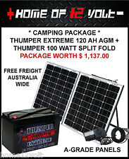 Thumper Solar + battery camping package - Extreme 120 AH + 100 watt Split fold
