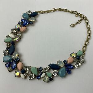 J. Crew Statement Bib Necklace Blues Pink Green Moonstone AB Crystals Gold Tone