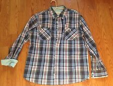 Weatherproof MENS Blue & Red Plaid Checkers DRESS SHIRT-MADE SZ Large EXCELLENT