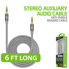 3.5mm Anti-tangle Braided AUX Audio Cable Headphones Home and Car Stereos Silver