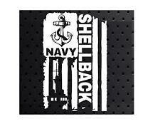 DISTRESSED UNITED STATES NAVY FLAG SHELLBACK VINYL DECAL STICKER U.S. NAVY