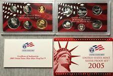 2005 U. S. Mint Silver Proof Set - 11 Coins (incl. 5 State Qtrs.)-Mint Box & COA