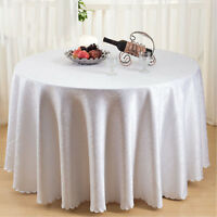 120 Inch Damask Tablecloth Round White Cover Cotton Polyester Embroidered Linen