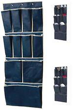 11 Pocket Over Door Shoe Organizer Tidy Rack Hanging Storage Unit Space Blue New