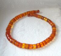 Natural Cognac Butterscotch Baltic Amber Necklace Tablets Beads 85 gr. Vintage
