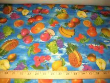 Multicolor Tropical Fruits 100% Polyester Fabric 58