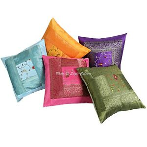 Indian Polydupion Embroidered Pillow Cover Multi Color Floral Sofa Pillow Cover