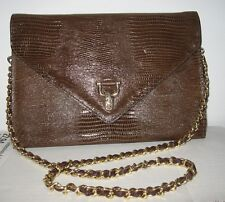 Vintage VIVACE brown croc LEATHER? large envelope purse clutch chain strap CHIC