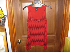 Willi Smith Red Embellished Tank Top Size L Large Sequence
