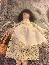 """Collectible Gift World of Gorham Porcelain Doll 8"""" Tall with basket"""